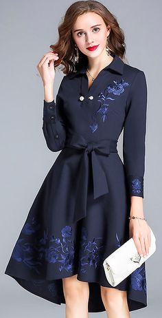 Fashion V-Neck Long Sleeve Embroidery Bowknot Skater Dress