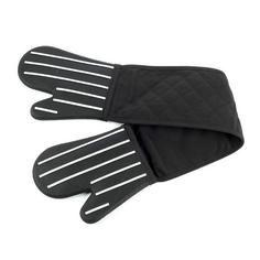 Black Striped Silicone Double Oven Glove