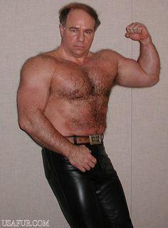 man wearing leather pants