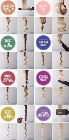 The best DIY projects & DIY ideas and tutorials: sewing, paper craft, DIY. Beauty Tip / DIY Face Masks 2017 / 2018 9 Types Of Curls Curled Hairstyles, Diy Hairstyles, Pretty Hairstyles, Curling Wand Hairstyles, Types Of Hairstyles, Updos Hairstyle, Short Hairstyle, Summer Hairstyles, Hairstyle Ideas
