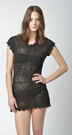 Lisa Curran Swim - Sarah Hand-Crochet Dress in Black