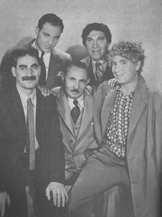 Groucho, Zeppo, Chico and Harpo with their father, Sam 'Frenchie' Marx.  From the book: 'Groucho, Harpo, Chico and sometimes Zeppo' by Joe Adamson