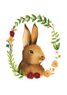 Bunny Illustration - Archival Print 8x11. $20.00, via Etsy.