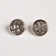 Marcia Moran Titanium Druzy Stud Earrings