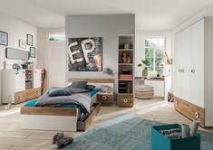TEORIE 297 jednolôžková posteľ, dub planked/biela - Váľandy a jednolôžka - Postele Baby Zimmer Ikea, Planking, Entryway, House Design, Furniture, Home Decor, Interior Ideas, Products, Kids