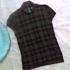 LAUREN Ralph Lauren Green Tartan Plaid cap Sleeve Turtle Neck Top Blouse SZ M #RalphLauren #KnitTop #Casual