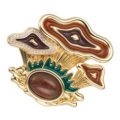 WALDHEIMAT brooch Cirolit white, enamel brown/green, brown agate, gold-plated