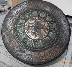 Clock Wall, Diy Clock, Wall Art, Funky Painted Furniture, Sculpture Painting, Classical Art, Mixed Media Collage, Pewter, Decoupage