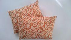 orange swirl pillow pair, home decor or bedroom