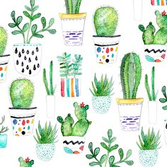Watercolour Succulents, Cactus fabric by emmaallardsmith on Spoonflower - custom fabric