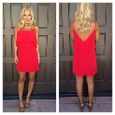 Flaming Red Crochet Lace Trim Dress | Dainty Hooligan Boutique
