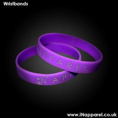 Silver Debossed Purple Wristbands. 49p free shipped with any other item. www.iNapparel.co.uk
