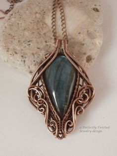 Wire Wrap Pendant Necklace, Labradorite, Antiqued Copper Wire Jewelry, Handmade Wire Weave Jewelry