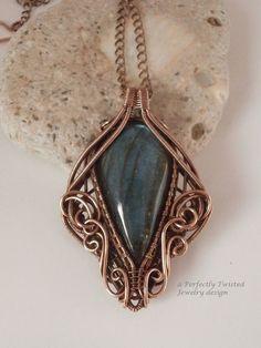 Wire Wrap Pendant Necklace, Labradorite, Antiqued Copper Wire Jewelry, Handmade Wire Weave Jewelry