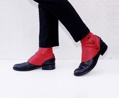 RED leather spats