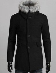 $27.25 Slimming Detachable Faux Fur Splicing Hooded Single Breasted Long Sleeves Woolen Coat For Men