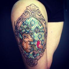 Frame tattoo, dear tattoo patternwork Tattoo Dagmar - Roeselare, Brugge, West-Vlaanderen | Poetic | Ornamental | Dotwork | Pattern | Flower | Art-nouveau | Lace