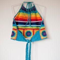90s rainbow crochet halter neck crop top by THIRDWRLD on Etsy