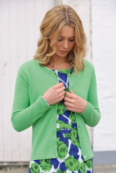 SS13 - Cashmere Fitted Round Neck Cardigan in Pistachio