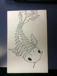 Skeleton koi fish tattoo idea