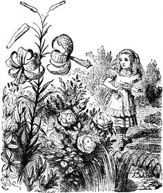 "Alice meets the flowers in Lewis Carroll's ""Through the Looking Glass."" Illustration by artist John Tenniel."