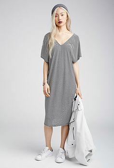 V-Neck Striped Midi Dress | Forever 21 - 2000116399