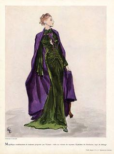 Evening Gown   Madeleine Vionnet   1936   Fashion Illustration by Eric