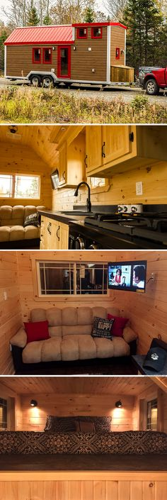 A beautiful cabin-style tiny house on wheels from Newfoundland-based company, Rollin Cabins. Tiny Cabins, Tiny House Cabin, Tiny House Living, Tiny House Plans, Tiny House On Wheels, Tiny House Design, Pre Manufactured Homes, Cabana, Tiny House Company