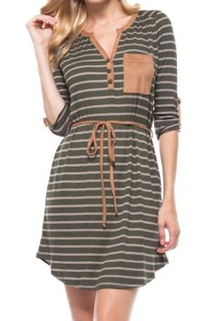 Striped, ribbed dress with faux suede pocket and self tie string.   Striped Faux Suede Dress by Bo Bel. Clothing - Dresses - Casual Georgia