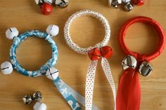 Cover shower curtain rings in ribbon and bells and then let your little ones  shake shake shake along to jingle bells! They also make lovely tree ornaments. Tutorial here.