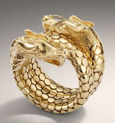 John Hardy Naga 18k gold coil dragon ring.