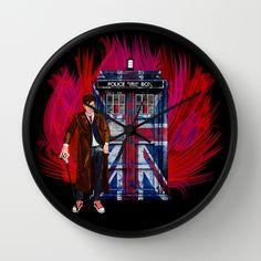 British Phone box with 10th Doctor Wall clock #british #davidtennant #starrynight #phonebox #artdesign