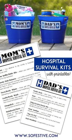 A fun and inexpensive gift idea for new parents: a hospital survival kit! Get the printables at SoFestive.com
