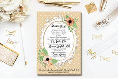 Polka Dot Country Wedding Invitations. Also as Printable