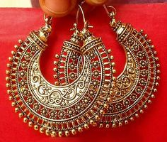 Vintage Ethnic South Jewelry Gold Tone Oxidized Indian Earrings Jhumka Jhumki in Jewelry & Watches, Fashion Jewelry, Earrings | eBay