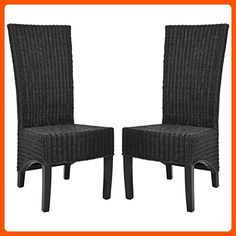 Safavieh Home Collection Aaron Black Wicker Side Chair, Set of 2 - Improve your home (*Amazon Partner-Link)