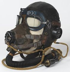 helmet, leather, flying, Type C, with oxygen mask and MK VII flying goggles, Royal Air Force | Imperial War Museums