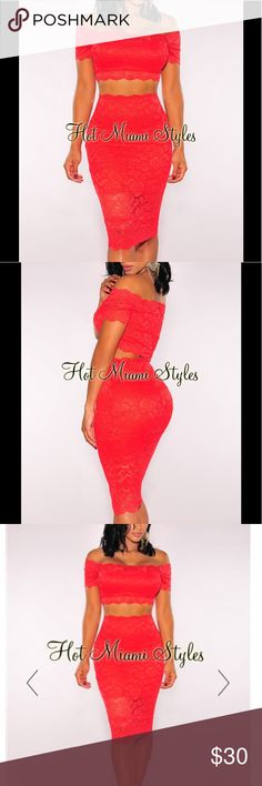 Red Lace Off The Shoulder Two Piece Set Show of them rockin' curves in this figure loving lace two piece set, with an off the shoulder neckline for added glamour. Hotmiamistyles Skirts