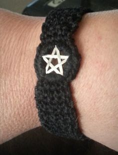 Hand crocheted pentacle bracelet. Want a different color? Just let me know. :)