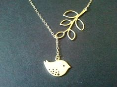 Gold Bird and Branch Lariat Necklace Mother's day by LaLaCrystal, $22.00