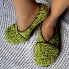 Super cute knitted slippers with crochet edging!