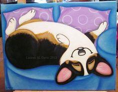 Pembroke Welsh Tri Corgi Dog & Couch Original 11x14in Canvas Painting LAUREN M. DAVIS ART