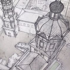 """""""Cathedral of St. Peter and Paul in Kazan. Details. Perspective, june/15, KSUAE."""""""