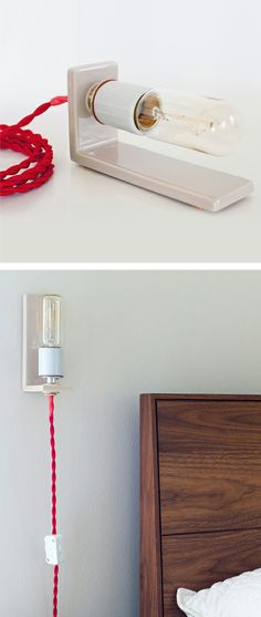 Simple L lamp // red + taupe | via Fab #lighting_design