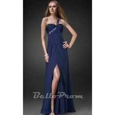 Blue One Shoulder Banquet Long Prom Dress A4129  Price: $149.00  Buy now enjoy -10% Discount.