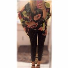 Black Floral Batwing Top Chiffon flowy top Tops