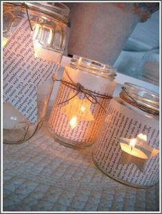 Materials: Mason jars, old newspapers, tea lights, string. Christmas Candles, Christmas Love, Homemade Christmas, Diy Arts And Crafts, Xmas Crafts, Diy Crafts For Kids, Painted Wooden Boxes, Mason Jar Candles, Summer Diy