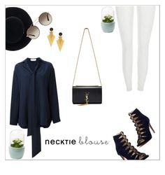 """""""Necktie blouse"""" by thatgirlwholovesit on Polyvore featuring Chloé, Kenneth Cole, Yves Saint Laurent, Eugenia Kim and Prada"""
