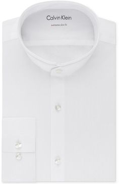 Calvin Klein Men's X Extra-Slim Fit Stretch Performance Band Collar Dress Shirt