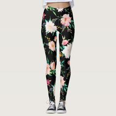 Girly Trendy Pink Black White Floral Watercolor Leggings